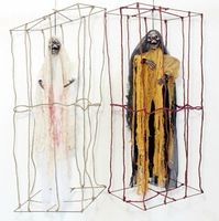 Free Shipping !!! Halloween Voice Hemp Cage Ghost Square Cages Horror Decoration Ball Party Prop High Quality 1pcs/lot #H124