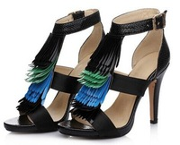 free shipping Fringed heels, crocodile leather fish head sandals, summer new hit color shoes