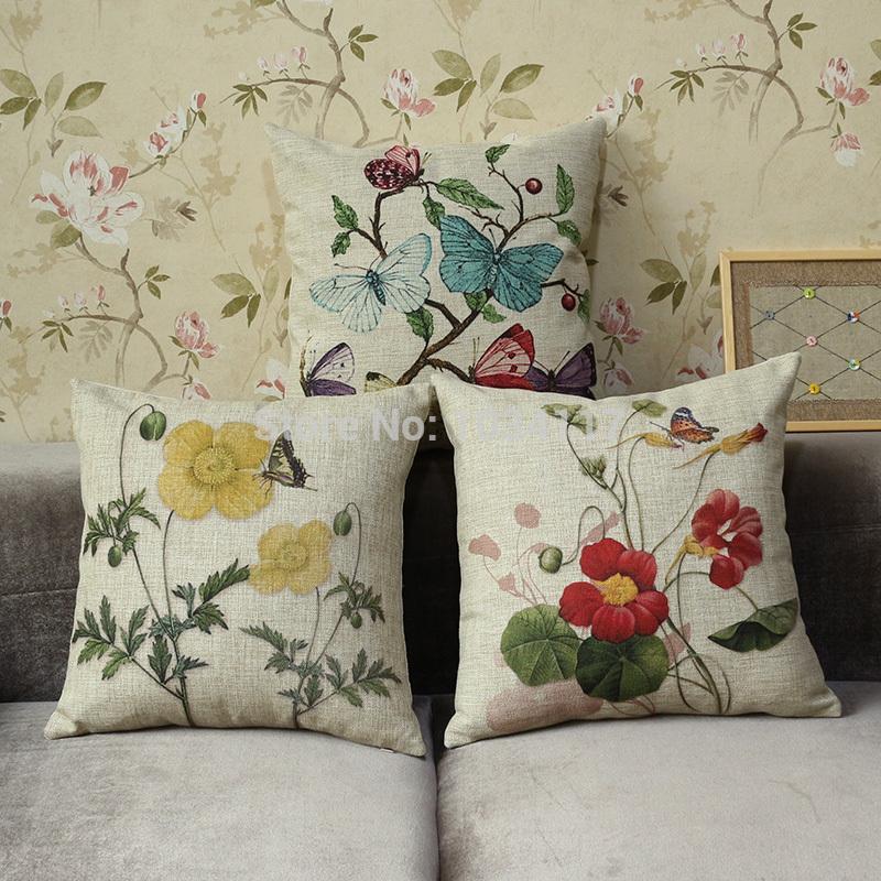 Pastoral 45 * 45 cm moda linho algodão misturado capa de almofada praça engrossar flor pássaro impresso decorativo do vintage almofadas(China (Mainland))