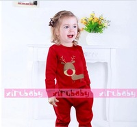 Wholesale Christmas Holiday Clothing Sets Baby Girls 2pcs Winter Clothes New Child Clothes Kids Boutique clothing 4 colors