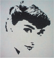 2014 New Arrive Simple Embroidery 14ct Counted cross stitch kit girl rooms decor Black White Audrey Hepburn Women Human Series