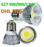 NEW DHL/FEDEX FREE  high power cree e27 6w 9w 12w led cob spotlight lamp bulb warm cool white 85-265v