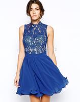 HIGH QUALITY! blue lace chiffon hollow out  women's dress girl fashion dress XS-XXL,141514009