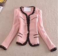 Autumn Winter Outerwear Office Ladies Patchwork Slim Lace Coat Suit Jacket And Blazer Women Feminino work wear2014 one_plus_one