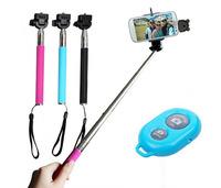 Adjustable Extendable Wireless Bluetooth Monopod Handheld Self Portrait Selfie Stick with Remote Shutter Function