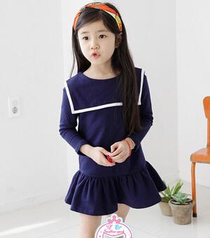 versão coreana de 14 das crianças vestuário outono novos modelos meninas princesa vestido xale academia naval vento vestido de algodão(China (Mainland))