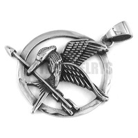 Free shipping! The Hunger Games Pendant Stainless Steel Jewelry Punk Eagle Motor Biker Pendant SWP0245