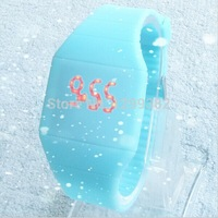 2014 Hot Fashion Girls/Boys LED Watch Ultra-thin Design jelly Woman Unisex Students Touch Screen Electronic Silicone Strap Watch