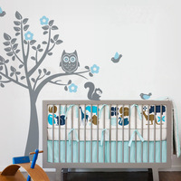 Owl Tree Wall Decal Tree Wall Stickers with Birds Squirrels Baby Nursery Bedroom Decor