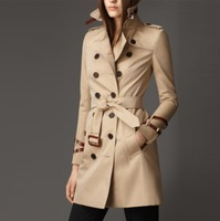 Free Shipping New 2014 Women British Long Style Fashion Trench Coat/Designer Double Breasted Slim Fit Trench/Outerwear F290A115