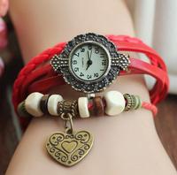 XR125 New Arrivals women vintage leather strap watches,set auger LOVE rivet bracelet women dress watches,women wristwatches
