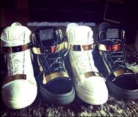 fashion  Men's brand new crocodile leather zipper high top men leisure black gold metal sneakers