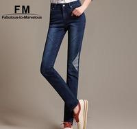 Fall 2014 Women Designer Jeans High Quality Fashion Brand Denim Pants Plus Size Straight Jeans 6XL Calca Jeans Feminina AW14P015