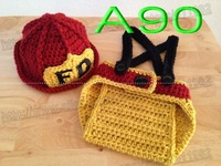free shipping,Crochet Baby Deep red firefighters hat,overalls,Baby firefighters caps and shorts set Newborn Photo Prop NB-3M