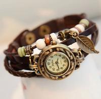 2014 New Hot Retro Butterfly Leaf Fashion leather Bracelet Water Quartz Hand Clock Women Wrist Watch Wristwatch Free Shipping