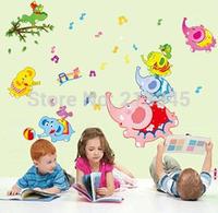 [Saturday Mall] - new 2014 Happy elephant family party cartoon animal wall stickers nursery kids room wall decor decals 6802
