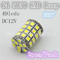 Free shipping!!! 49leds 5050SMD greatest strong G4 light, 8W DC12V warm white / white 2pcs/LOT