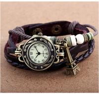 Fashion Vintage ladies women watches Eiffel Tower Leather Bracelet Quartz Watch