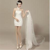 2014 New Design Short Lace Detachable Wedding Dresses Plus Size Vintage White Custom Made Bridal Gown D-8058