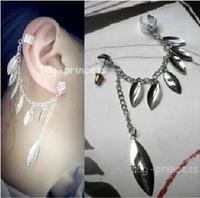 fashion cute leaves tassel clip earrings ear cuff
