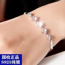 Real 925 Pure Silver Fashion Elegant Women s AAA Grade Cubic Zirconia Chain Link Bracelets Wholesale