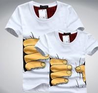 2pcs/lot 2014 Men Clothes Big Hand 3d t shirt visual creative personality spoof grab your cotton T-shirt shirt free shipping F88