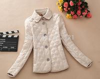 2014 New Winter Autumn Coat Jacket Women Brand Design Fashion British Style Plaid Quilting Wadded Cotton-Padded Parkas WWM217