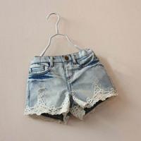 Wholesale 2014 New fashion girl denim shorts children short jeans