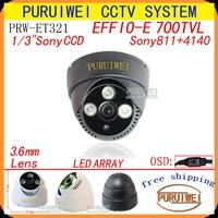 """100%Original 1/3""""Sony Effio-e 700TVLine 960H  3pcs Array IR LEDS With OSD Menu indoor Plastic Dome CCTV Camera.Free shipping"""
