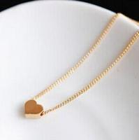 fashion Korea 24K golden small pea heart short necklace hot sale