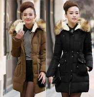 WWY36 Size XXL XXXL Down Jacket And Long Sections 2014 Women'S Winter Coat Big Yards Slim Raccoon Fur Hooded Down Jacket