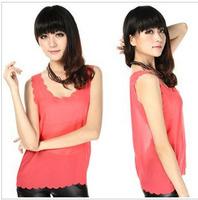2014 Hot Sell Women Fashion Candy Colors Chiffon Blouses Casual Loose Ruffles Chiffon Shirt Top Vest Blusa Simple