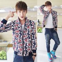 2014 Time-limited Hot Sale Freeshipping Conventional Jersey Zipper Regular Print Jaqueta Masculina Coats & Jackets Jacket H865
