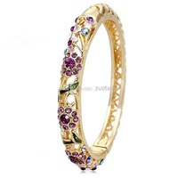 Wholesale - Handmade Craft Gift Cloisonne Bracelets For Women 18k Gold plated Bangles Austrian Crystal Fashion Jewelry