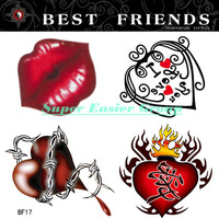 20x20cm Temporary Tattoo Stickers Body Painting Art Arm Makeup Removable Waterproof Red Lips Heart I Love You Pattern #BF-17