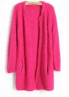 2014 Top Quality Korean Women Cardigan Sweet Candy Color Mohair Sweater Knitwear Ladies Long Loose Women Sweater Outwear