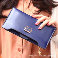2014 factory price new Korean version of sweet and cute bow style women long wallet card wallet
