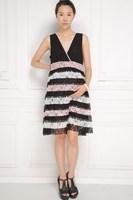 Sleeveless V-neck Maternity Dress Stripe Patchwork Lace Maternity Dress