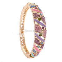 Wholesale - Gifts for Girls Cloisonne Enamel Love Heart Bracelet Engravable Hollow 18k gold plated Bangles Austrian Crystal Rhin