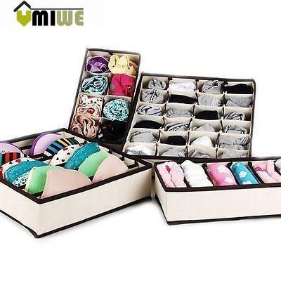 Umiwe Drawer Dividers Closet Organizers Bra Underwear Storage Boxes (Off White,Set o
