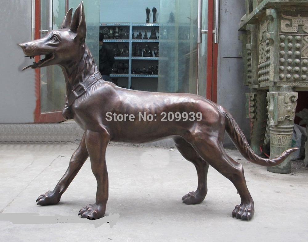 "huij 006280 44""Huge Western Sculpture Bronze ART German Shepherd Dog wolf dog statue(China (Mainland))"