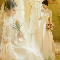 Fashionable Winter Long Sleeve Lace Wedding dress 2014 Vintage Elegant wedding dresses vestido de noiva curto bridal gown W65