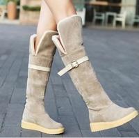 New 2014 Winter Vintage Women Long Boots Moccasins Botas Femininas Boots Flat Heel Snow Boots Black Platform Nubuck Leather Shoe