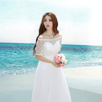 2014 White Color Sweetheart Strapless Lace Beading Wedding Party Dress A-line Chiffon Long Beach Bridesmaid Dresses Plus Size