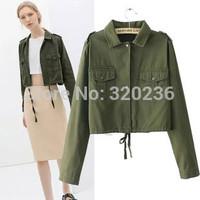 Free shipping!  2014 Girl's  Autumn New Turn Down Collar Army Green Short  Jacket Womens Ladies Fashion Coat