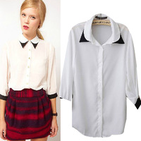 New Promotions!2014 Hot Summer Fashion Trendy Women Blouse shirts Classic black and white Department shirt blusa manga longa