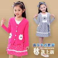 2014 New Girls Dress+Outerwear 2PCS Set Spring Autumn Children Clothing Cute Dot Long Sleeve 3 Colors Cotton Princess Dresses 12