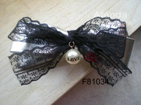 FreeShipping 12pcs/lot Fashion Synthetic Leather Hair Bow PU Ribbon Lace Ribbon Bow Hair Clip F81034 (black gold silver)