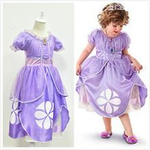 2014 verão meninas vestido manga puff sofia modelagem patchwork dot realizando babados vestido de princesa menina vestido vestido de festa(China (Mainland))