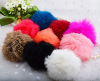Free Shipping  Rabbit Fur Fluffy Elastic Pom Pom Scrunchie Pony Tail Hair Holder Band